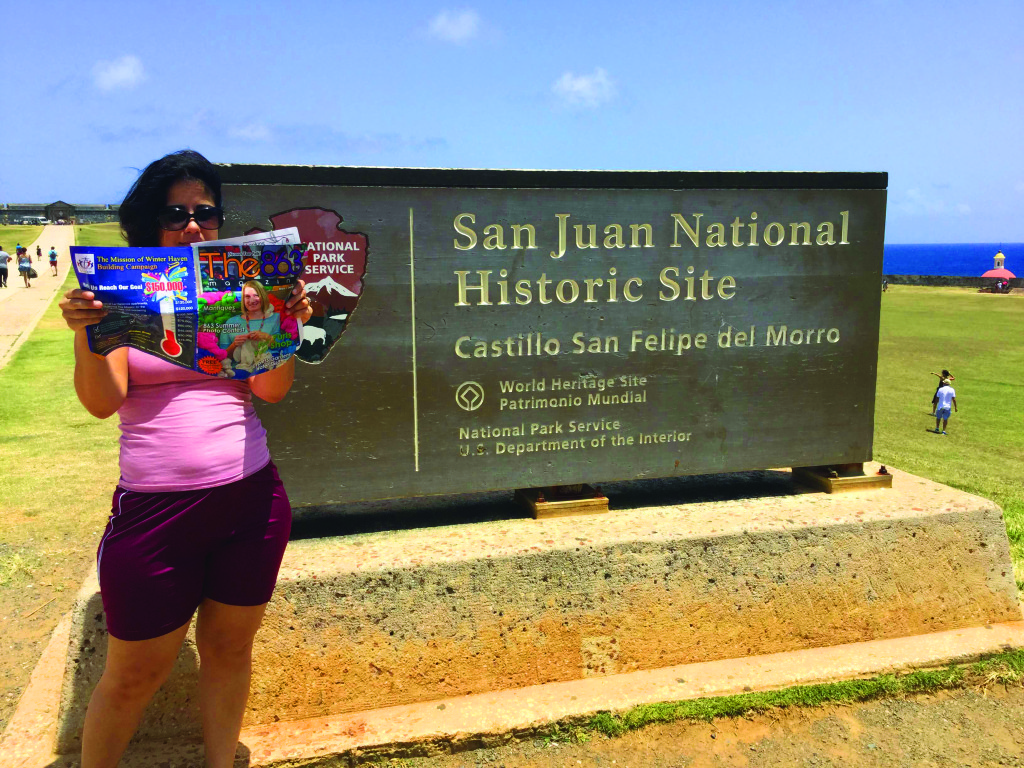 Third place was taken by Gretchen Suarez-Pena from Bartow, who brought her copy to casually read in front of the El Morro Fort in San Juan, Puerto Rico. Good choice in vacation reading material, Gretchen.