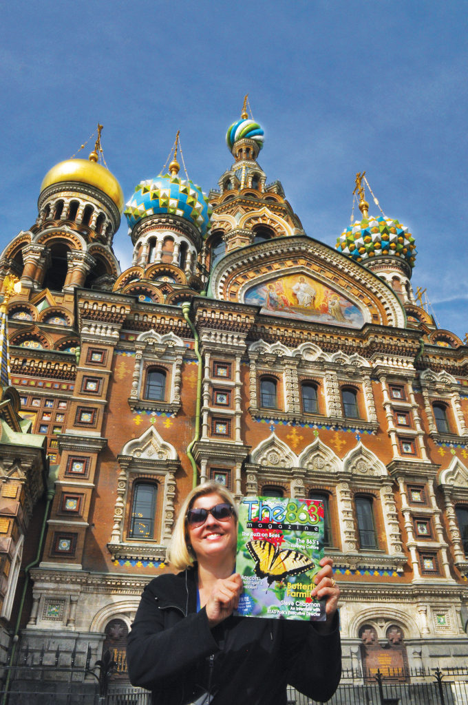 Kathryn Linski displays the May 2014 issue in front of the Church of the Savior on Spilled Blood in St. Petersburg, Russia; submitted by Jay Linski. This is just stunning.