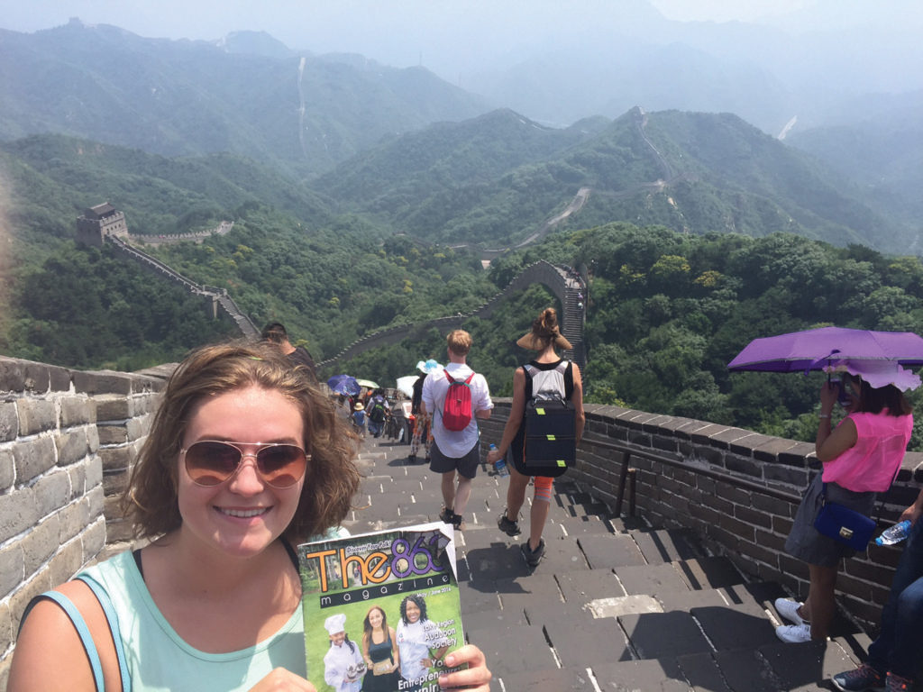 Above: Riley Richards on the Great Wall of China. Submitted by Riley Richards.
