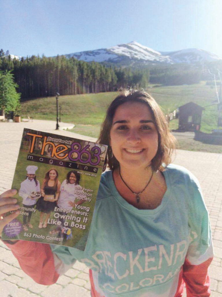 Alexia Flores shows off her copy of The 863 Magazine in Brecken-ridge, Colorado in June. It's a ski resort but she didn't ski. Hahaha. Submitted by Alexia Flores.