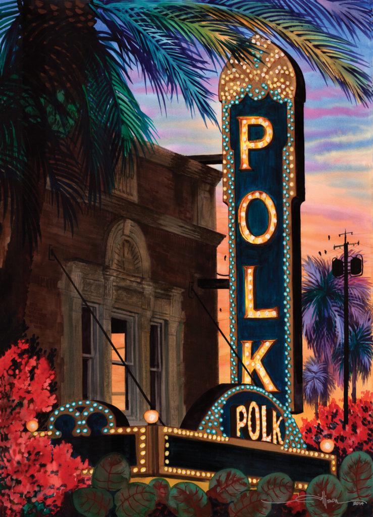 Polk Theatre neon painting by Lakeland Florida artist Alison LaMons
